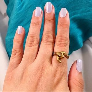 VINTAGE Brass Snake Ring